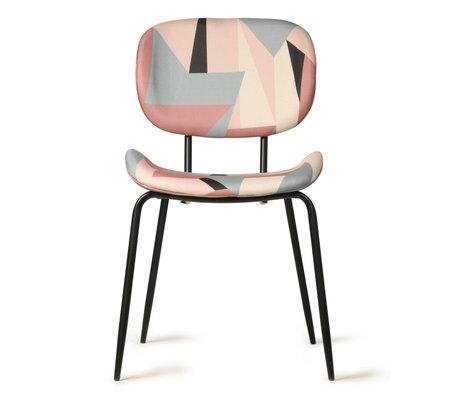 HK-living Chaise de salle à manger imprimée multicolore textile métal 48x62.5x85.5cm