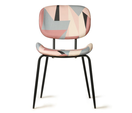 HK-living Dining room chair printed multicolour textile metal 48x62.5x85.5cm