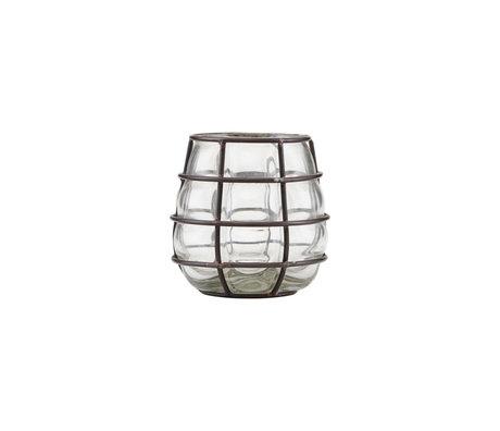 Housedoctor Waxinelichthouder Navi antiek zwart glas metaal Ø7,5x10cm