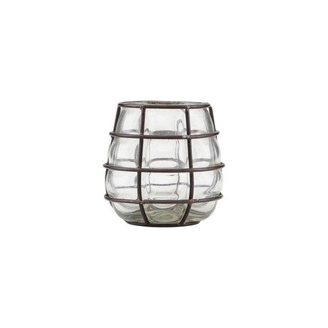 Housedoctor Photophore Navi verre noir antique métal Ø7,5x10cm