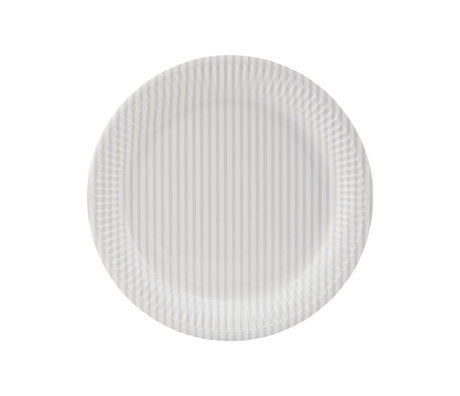 Housedoctor Paper plate Stribe 2 cream white nude paper Ø23cm