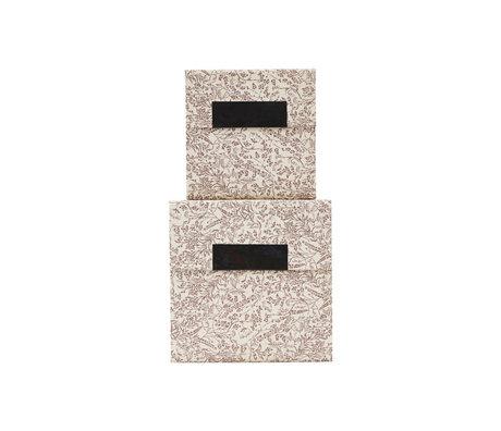 Housedoctor Aufbewahrungsbox mit Deckel Blossom Set aus 2 braunen weißen Pappen