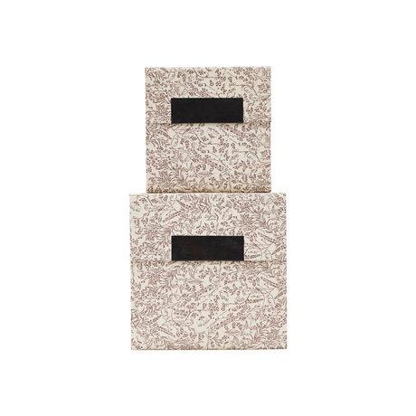 Housedoctor Opbergdoos met deksel Blossom set van 2 bruin wit karton