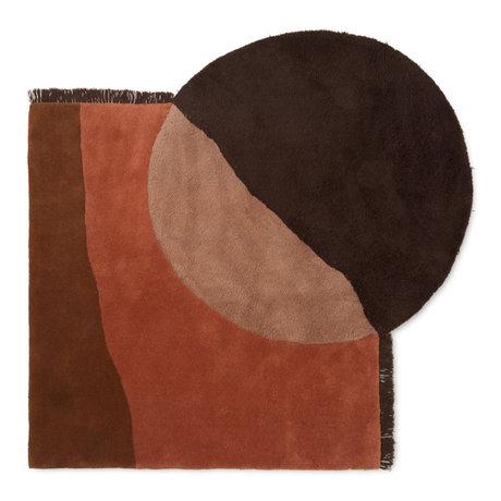 Ferm Living Tapis vue laine brun rouge 140x180cm