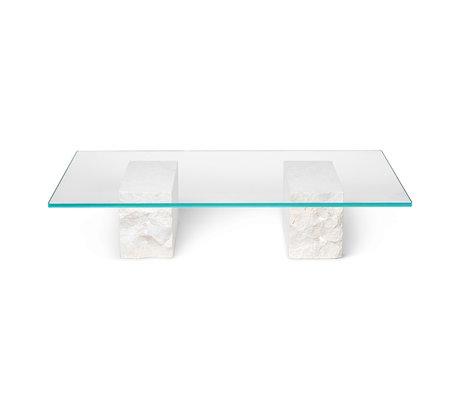 Ferm Living Table basse Base en marbre minéral avec plaque en verre 120x70x25cm