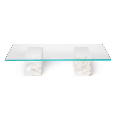 Ferm Living Coffee table Mineral marble base with glass plate 120x70x25cm
