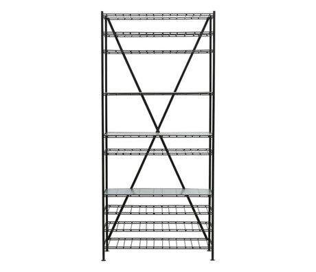 Housedoctor Weinregal Gany schwarz Eisenglas 35x90x200cm