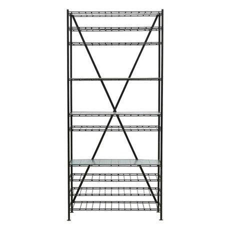 Housedoctor Wine rack Gany black iron glass 35x90x200cm