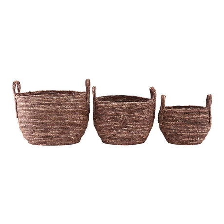Housedoctor Basket Arran set of 3 red brown corn grass