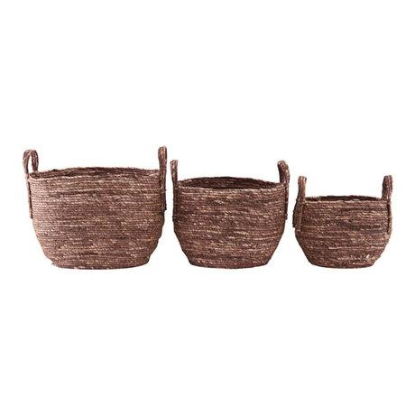 Housedoctor Mand Arran set van 3 rood bruin maisegras