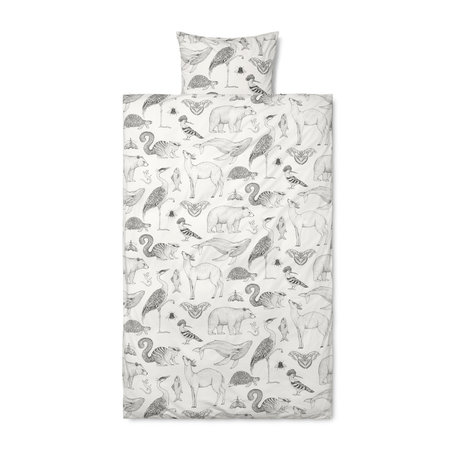 Ferm Living Duvet cover Katie Scott, off-white cotton 140x200cm incl. Pillowcase