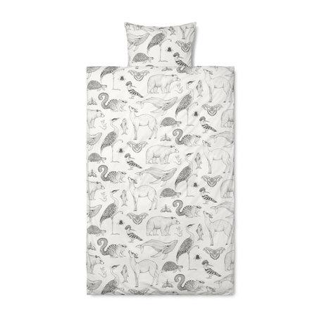 Ferm Living Housse de couette Katie Scott, coton blanc cassé 140x200cm avec taie d'oreiller