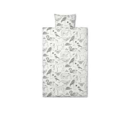 Ferm Living Housse de couette Katie Scott, coton blanc cassé 70x100cm avec taie d'oreiller