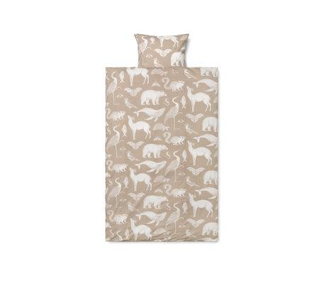 Ferm Living Housse de couette Katie Scott coton brun sable 70x100cm avec taie d'oreiller