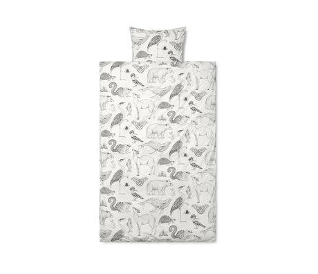 Ferm Living Bettbezug Katie Scott, cremefarbene Baumwolle 100x140cm inkl. Kissenbezug