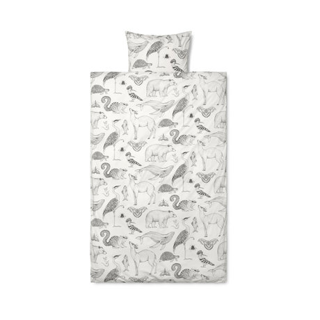 Ferm Living Housse de couette Katie Scott, coton blanc cassé 100x140cm avec taie d'oreiller