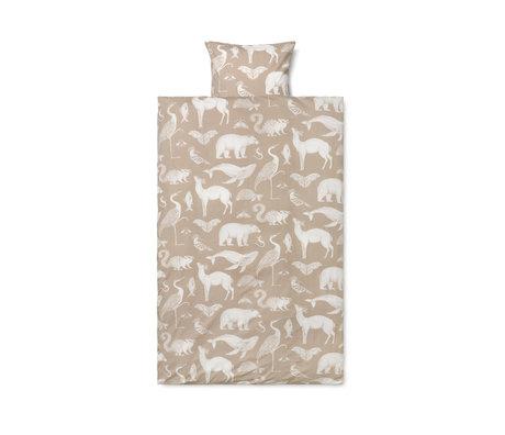 Ferm Living Housse de couette Katie Scott coton brun sable 100x140cm avec taie d'oreiller