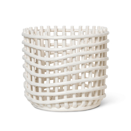 Ferm Living Großer Ablagekorb Keramik cremeweiß glasierte Keramik Ø23,5x21cm