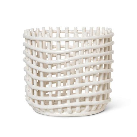 Ferm Living Large storage basket Ceramic off-white glazed ceramic Ø23.5x21cm