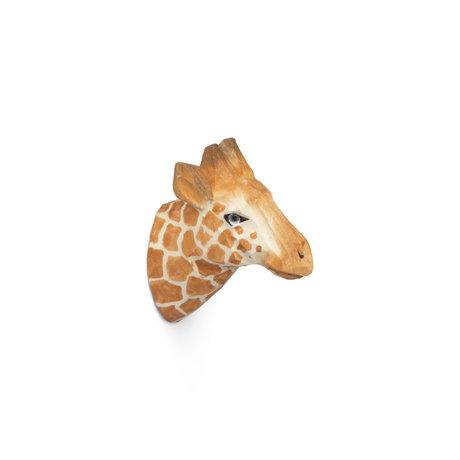 Ferm Living Wandhaak Giraffe handgeschilderd warm bruin hout 9,5x5x9,5cm