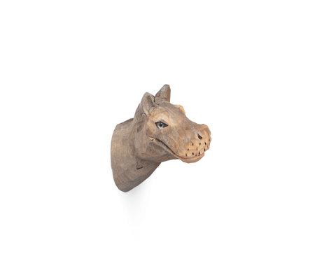 Ferm Living Hippo Wandhaken handbemalt warmes graues Holz 9,5x5x9,5cm