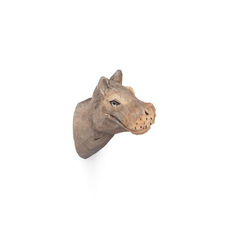 Ferm Living Hippo wall hook handpainted warm gray wood 9,5x5x9,5cm
