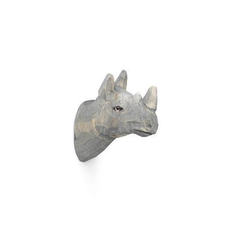 Ferm Living Rhino Wandhaken handbemalt graues Holz 9,5x5x9,5cm