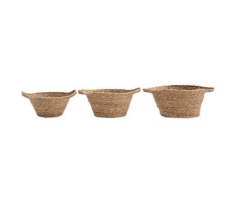 Housedoctor Basket Swipe set of 3 natural brown reeds