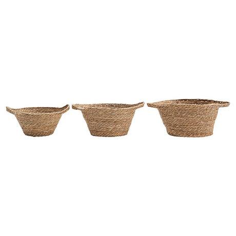 Housedoctor Basket Swipe set de 3 anches marron naturel