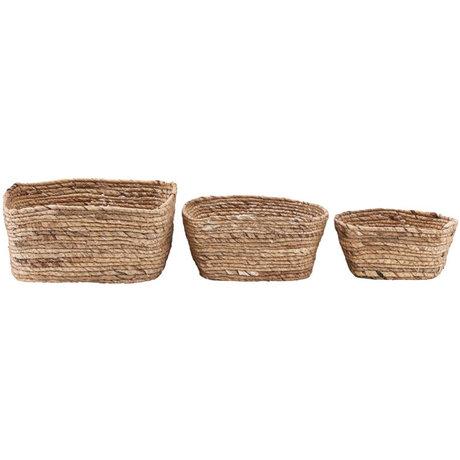 Housedoctor Panier Nangloi lot de 3 herbiers marron naturel
