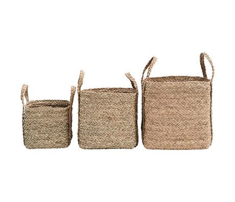 Housedoctor Mand Sikar set van 3 naturel bruin zeegras