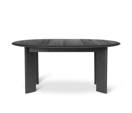 Ferm Living Eettafel verstelbaar Bevel zwart geolied eiken Ø117-167x73cm