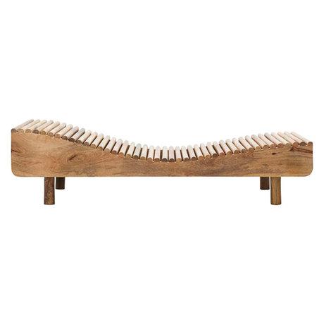 Housedoctor Bain de soleil Basti en bois de manguier marron naturel 193x70x49.5cm