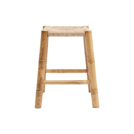 Housedoctor Stool Kalyan natural brown seagrass bamboo 30x30x45cm