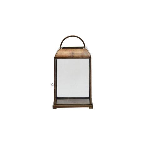 Housedoctor Mandurai lantern antique brass gold glass 25x25x46cm