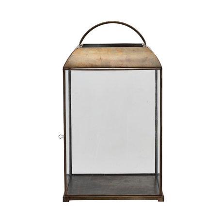 Housedoctor Mandurai lantern antique brass gold glass 40x40x70.5 cm