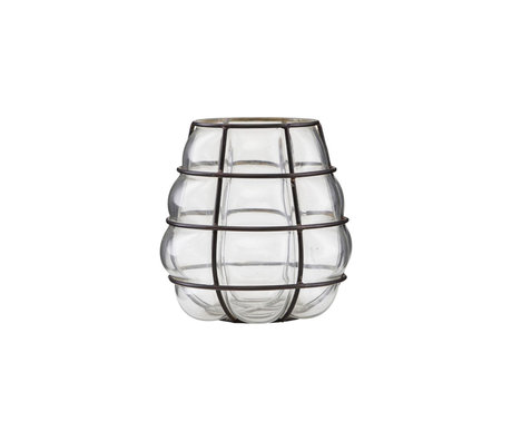 Housedoctor Waxinelichthouder Navi antiek zwart glas metaal Ø9x14cm