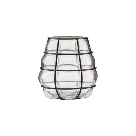 Housedoctor Teelichthalter Navi Antik Schwarz Glas Metall Ø9x14cm