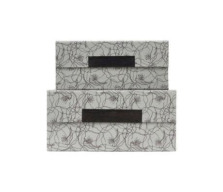 Housedoctor Boîte de rangement avec couvercle lot de 2 cartons Flor bleu gris