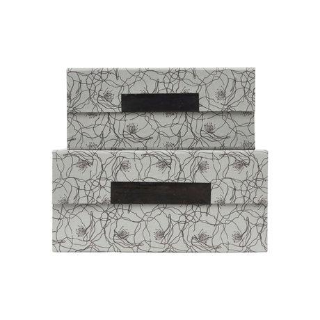Housedoctor Aufbewahrungsbox mit Deckel 2er Set Flor blaugrauer Karton