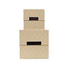 Housedoctor Boîte de rangement avec couvercle Rhomb lot de 2 cartons marron beige