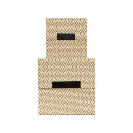 Housedoctor Aufbewahrungsbox mit Deckel Rhomb Set aus 2 beige braunen Kartons