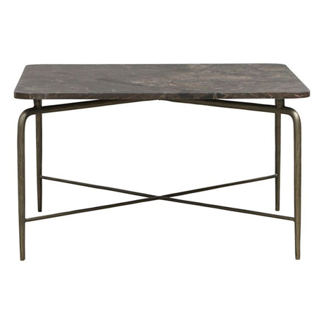 Housedoctor Coffee table square brown marble iron 80x80x45cm