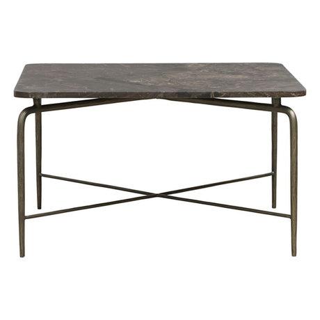 Housedoctor Table basse carrée marbre marron fer 80x80x45cm