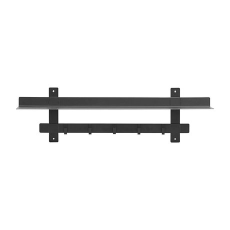 Housedoctor Wall rack Tag black steel 80x18.5x23cm