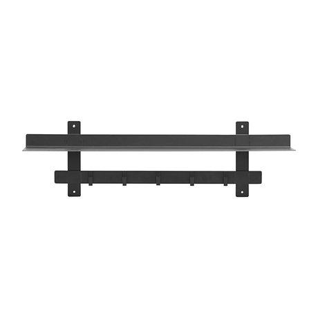 Housedoctor Wandregal Tag schwarz Stahl 80x18.5x23cm