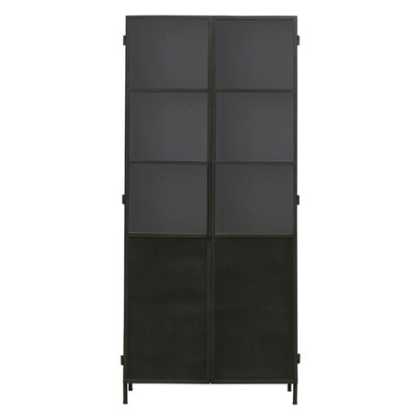 Housedoctor Cabinet Collect black iron glass 90x42x200cm