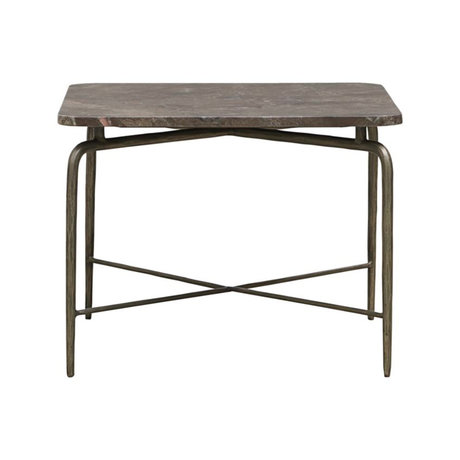Housedoctor Coffee table Square brown marble iron 60x60x45cm