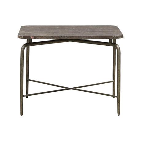Housedoctor Table basse Carrée marbre marron fer 60x60x45cm