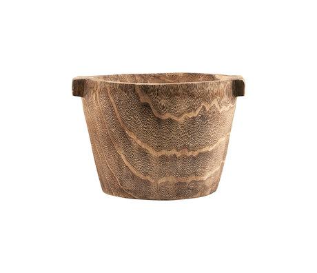 Housedoctor Opbergbak Craft bruin paulownia hout Ø35x26cm